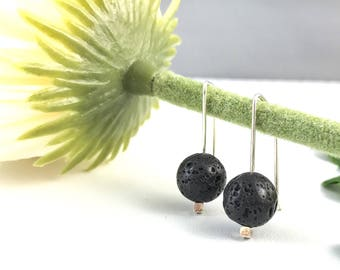 Earrings 10mm black lava stone drop earrings on sterling silver simple minimalist earrings aromatherapy essential oil diffuser earrings