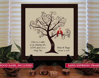 SKFT Personalized Wedding Gift for Couples Gift for Her Him Newlywed Engagement Anniversary Gift, Love Birds In Tree Framed Print