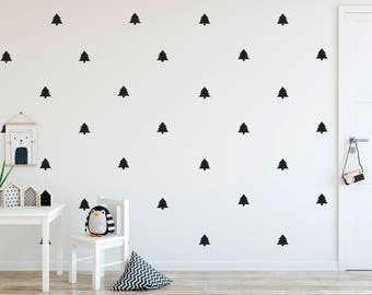 Pine Tree Decals - Choose Your Color, Pine Decals, Monochrome Wall Decals, Geometric Pattern Wall Decal, Boy's Nursery, Scandinavian