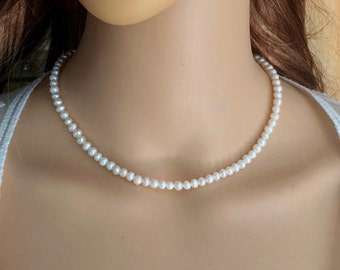 Small Freshwater pearl necklace choker simple pearl bridal necklace real seed pearl necklace dainty wedding jewelry bridal jewellery giftbox