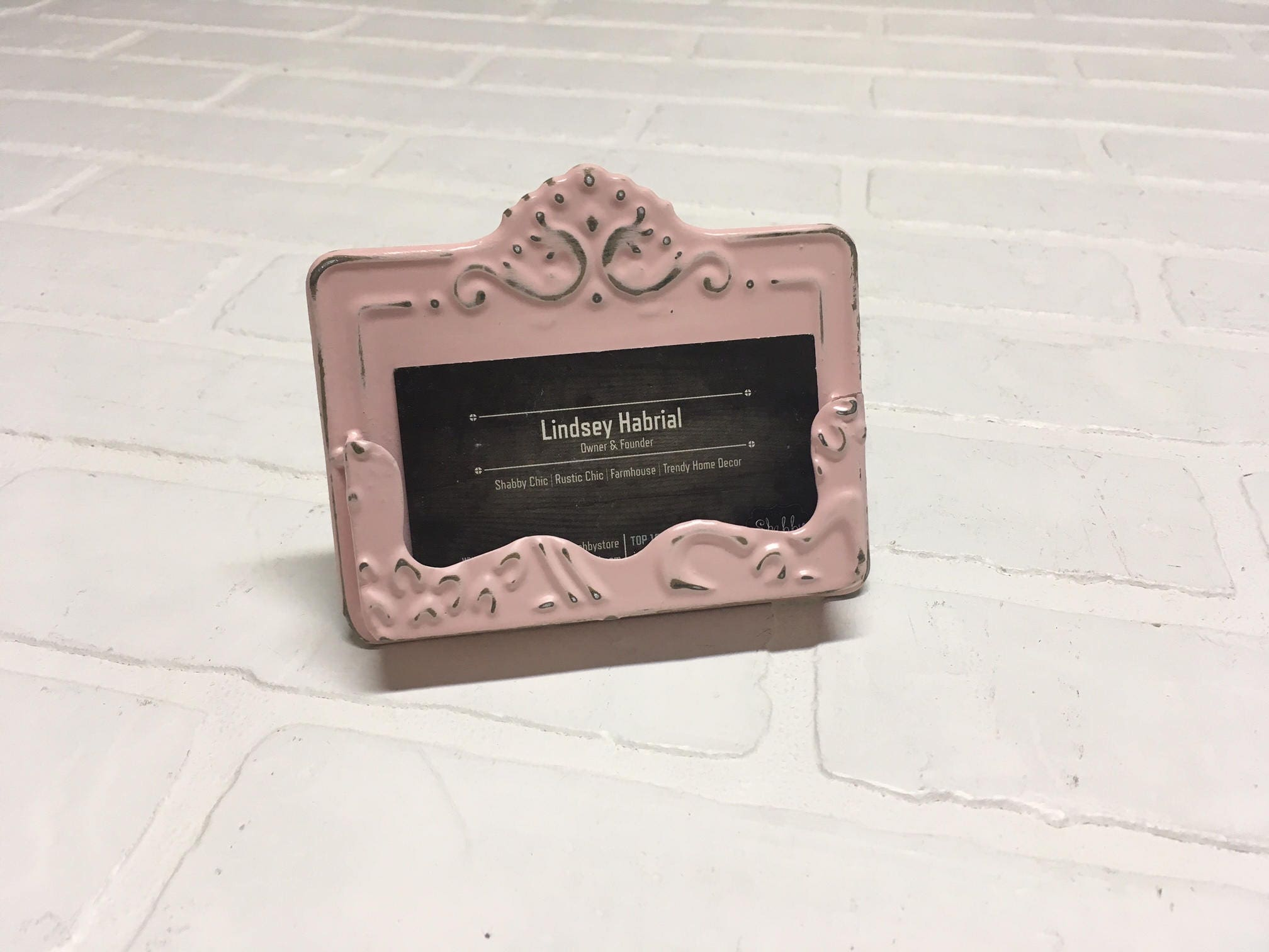 Shabby Chic Business Card Holder/Pink Business Card