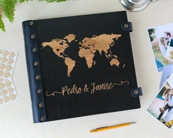 Travel Photo Album, Photo Album, Travel Album, Adventure Awaits, Wedding Album, World Map, Wood Photo Album, Custom Wedding Album, Wedding