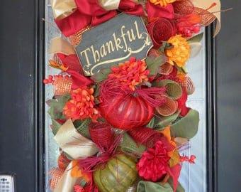 Fall Door Swag, Fall Wreath, Autumn Wreath, Wreath for Fall, Fall Decor, Deco Mesh Wreath, Large Wreath, Swag, Ready to Ship