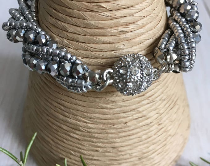 Crystal Bead Bracelet with sparkly magnetic clasp.  Silver