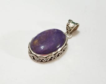 Charoite, Pendant, .925 Sterling Silver, Purple, Violet, Necklace, Focal, Bali, Beading, Jewelry, Supplies, Supply