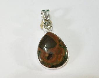 Rainforest Jasper, Green Amethyst, Pendant, .925 Sterling Silver, Necklace, Focal, Beading, Jewelry, Supplies, Supply