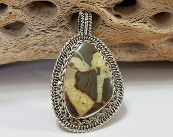 Septarian Nodule, Wire Wrapped, Sterling Silver, Pendant, .925 Sterling Silver, Focal, Beading, Jewelry, Supply