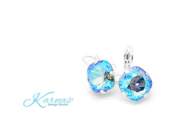 LIGHT SAPPHIRE SHIMMER 12mm Cushion Cut Earrings Swarovski Elements *Choose Your Finish & Style *Karnas Design Studio™ *Free Shipping*