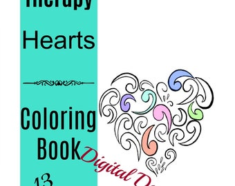 Printable Coloring Book Hearts Art Therapy Calming Anti Stress For Adult