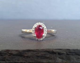 Ruby & Diamond Halo Engagement Ring