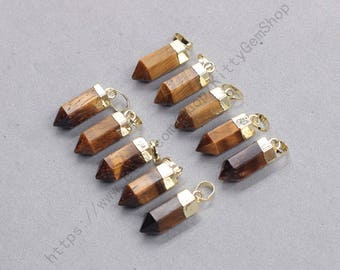 18mm Point Tiger Eye Pendants -- With Electroplated Gold Edge Gemstone Charms Wholesale Supplies YHA-337