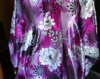 Open front Cover Up Robe -- Polyester Satin Purple Black Pink & Gray floral print Caftan Long Tunic Belly Dance Fits One Size