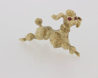 14K Gold Poodle with Ruby Eyes