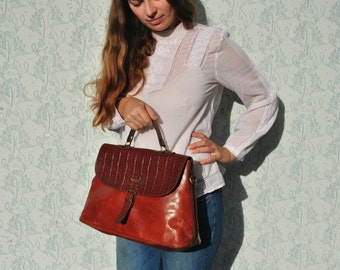 Leather bag, leather purse, leather handbag, El Campero bag, vintage leather bag, vintage leather handbag, tan leather bag, leather  bag