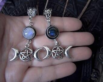 Triple Moon Pendant, Triple Goddess, Labradorite Pendant, Rainbow Moonstone Pendant, Pentagram, Moon