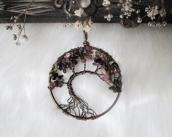 Tourmaline Tree of Life, Yggdrasil, World Tree, Chakra Necklace, Wisdom Tree Pendant