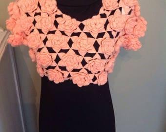 Vintage rosette bolero top......handmade......short sleeves....peach colored.