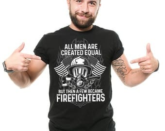 Firefighter T-Shirt Proud American Firefighter Profession Occupation Graphic Tee Shirt