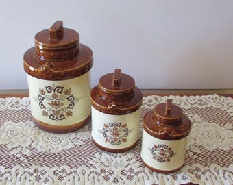 Canister Set ~ Brown and Cream Ceramic ~ Set of 3 ~ 1970s Round Canisters ~ Retro Kitchen – Storage Containers ~ Glaze Canisters