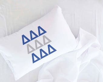 Sorority Letters Custom Printed in Sorority Colors Pillowcase, Delta Delta Delta, Tri-DeltaShown, All 26 NPC Sororities Available