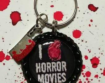 I Heart Horror Movies Keychain