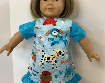 "18 inch Doll Clothes, ""PUPPY DOG"" Ruffle Dress, 18 inch AG American Doll Clothes, Fits 18 inch Dolls Like American Dolls, Puppy Love Dress!"