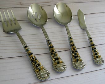 Gold Swarovski Crystal Beaded Serving Utensils Beaded Silverware, Set of 4 Serving Set, Wedding Gift, Anniversary Gift