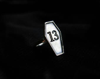 """Sterling Silver """"13"""" Coffin Ring"""