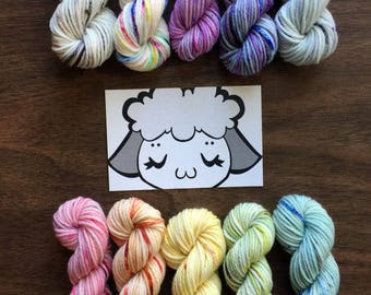 Mini Sampler Pack: 10- 10g skeins Sweet Pea Merino 80/20 Speckled Sock Yarn