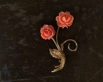 Mid century flower pin | coral pink with gold stem and leaves | brooch