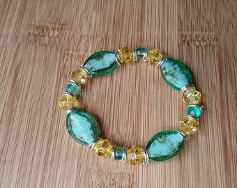 turquoise and yellow stretch bracelet