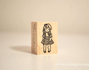 Girl and Squirrel / Original Rubber Stamp / Designed by Krimgen