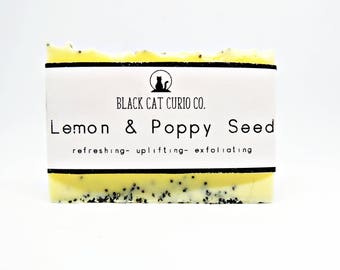 Lemon and Poppy seed soap | natural Shea butter soap bar | Exfoliating scrub soap | Uplifting aromatherapy |