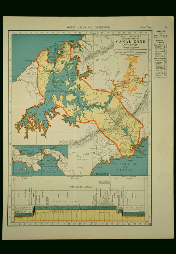 Panama canal map panama canal vintage zone 1930s original like this item gumiabroncs Images