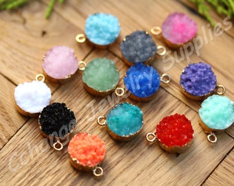 25 pcs Druzy Pendants, (19mm x 14mm) Colourful Druzy Pendants, Round Druzy Pendants, Druzy Charms, Boho Druzy Necklace Charms