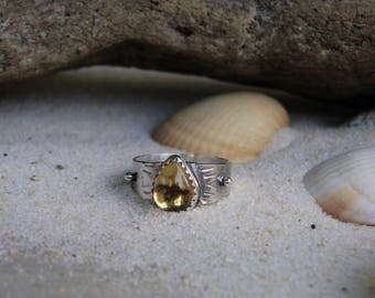 Celestial Citrine Ring, Citrine Ring, Sterling Silver, Teardrop, Boho Ring, Gemstone Ring, November Birthstone, Birthstone Ring Size 6.25