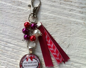 "Cabochon ""Great beautiful girl"" bag charm"