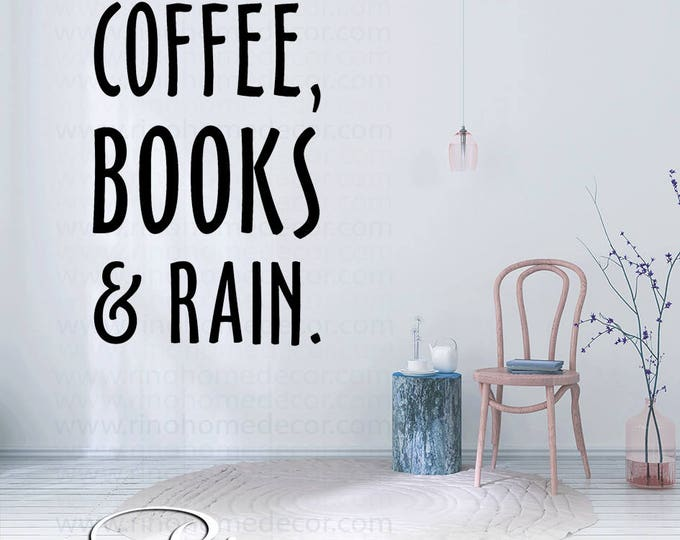 coffee books & rain decal