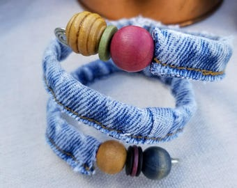 One of a Kind Recycled Denim Bracelet Using Blue Jean Hem Inserted with Wire Adorned with Recycled Wooden Beads
