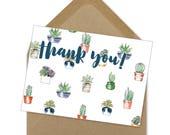 thank you succulent printable card | A6