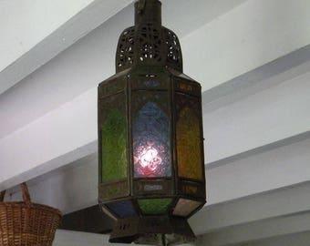 Hanging lantern French,colored glass candle lantern, Bohemian lantern, shabby chic lantern, vintage lantern, ethnic lantern