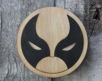 Wolverine Wood Coaster   Rustic/Vintage   Hand Stained and Glued   Comic Book Gift   X-Men