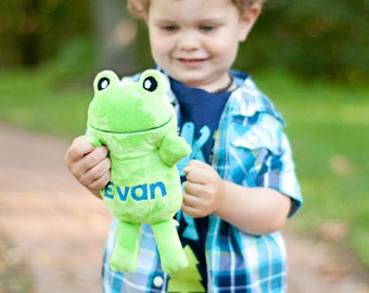 Frog Stuffed Animal, Personalized Stuffed Animal, Frog Plush, Gift For Toddler Boy, Cute Gift for Kids, Frog Gift, Toddler Gift Personalized