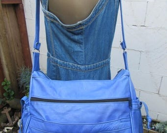 On Sale Patchwork Leather Hobo  Royal Blue Bag Purse Slouch Tote Handbag Satchel 1970s 70s Vintage 80s 1980s Hecho en Mexico