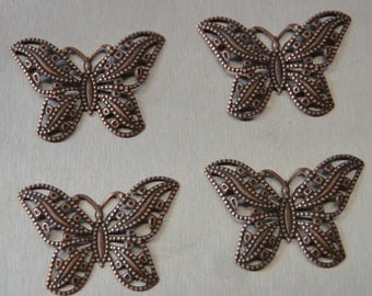 30mm x 25mm Butterfly Filigree Antique Copper finish.  4pcs/pkg only 1.75