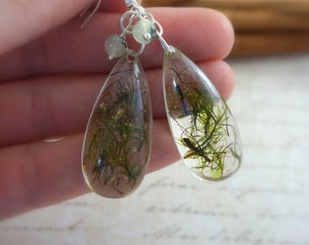 Gift|For|Mother Moss jewelry Green earrings Gift|For|Mom Long dangle earrings Greenery Gift|For|Her Kale Gift|For|Sister Botanical jewelry