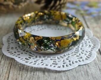 Gold leaf Bangle bracelet Delicate bracelet Gift|For|Women Resin jewelry Bohemian bracelet Green bracelet Green moss jewelry Cute bracelet