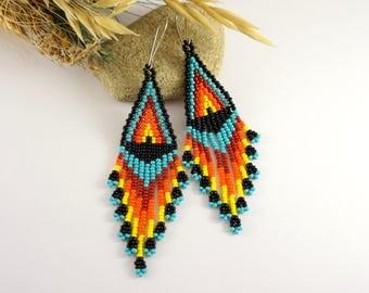 Beaded earrings native american style Black seed bead earrings Red blue earrings Ethnic earrings american earrings Beaded tribal earrings