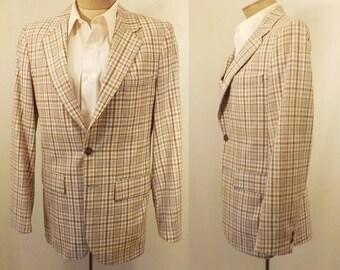 70's Vintage Window Pane Check Brown Men's Sport Coat Size 38