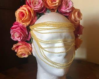 Headdress Pastel Roses-Crown roses-Spring headpiece